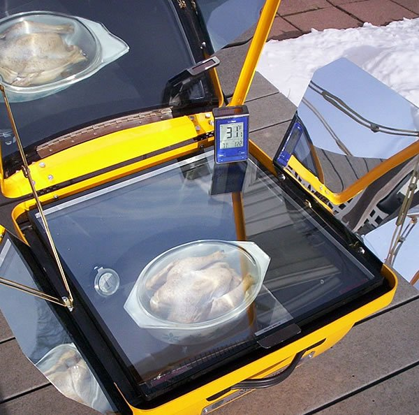 Solar cooking picture a chicken in Winter